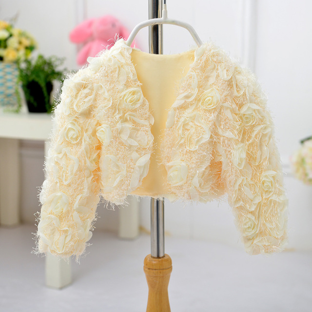 Girls small shawl dress skirt accessories children princess flowers waistcoat girls autumn and winter long - sleeved jacket