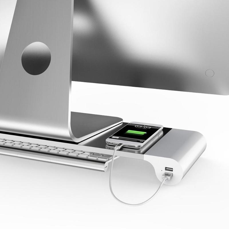 EU Plug Aluminum Alloy Laptop Monitor Stand Space Bar Dock Desk Riser with 4 USB Ports for iMac MacBook Computer Laptop Gadgets