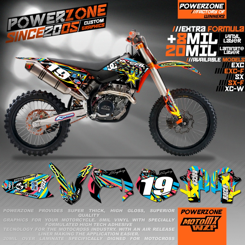 Custom Team Graphics Decals 3M Customized Background Sticker Kits For KTM SX SXF XCW EXCF EXC 125 250 300 350 450 530 MX Enduro 0322 star new team graphics with matching backgrounds fit for ktm sx sxf 125 150 200 250 350 450 500 2011 2012