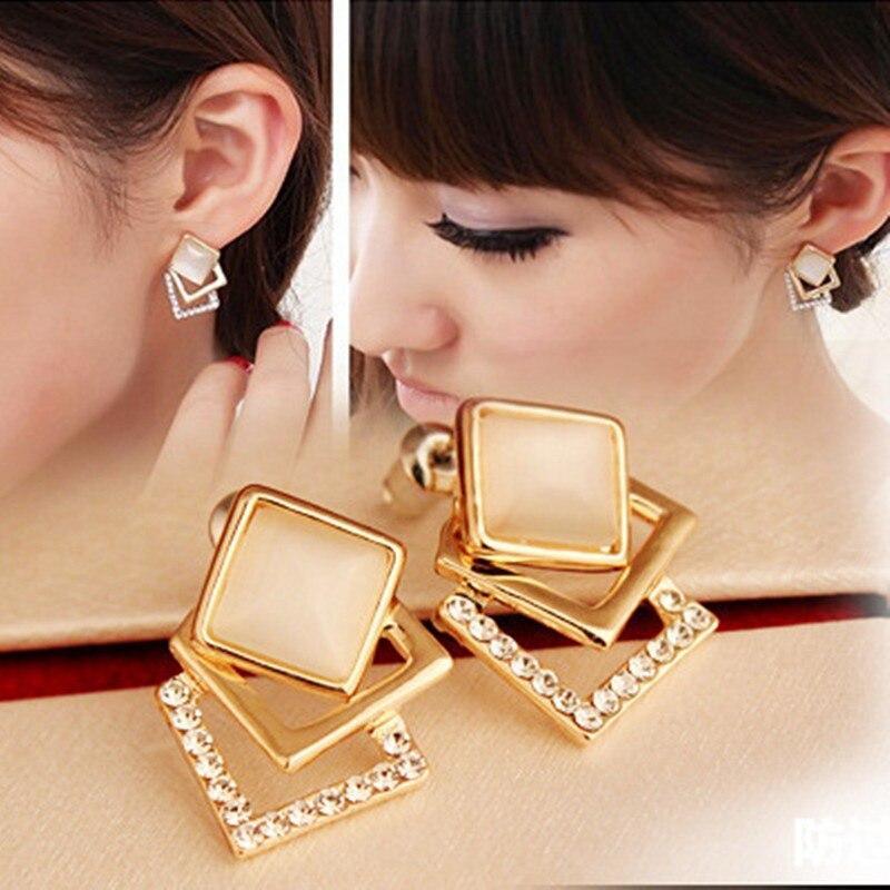 Fashion Gold Crystal Earrings Female Square Ear Stud Earrings For Women Fine Jewelry Brincos Bijoux 2016 New