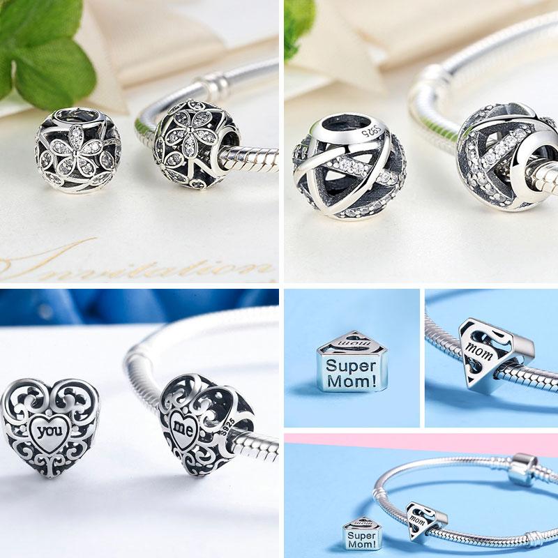 Srebro 925 Sterling Silver Ljubav Sve oko CZ perle Fit Charms Srebrna - Modni nakit - Foto 6