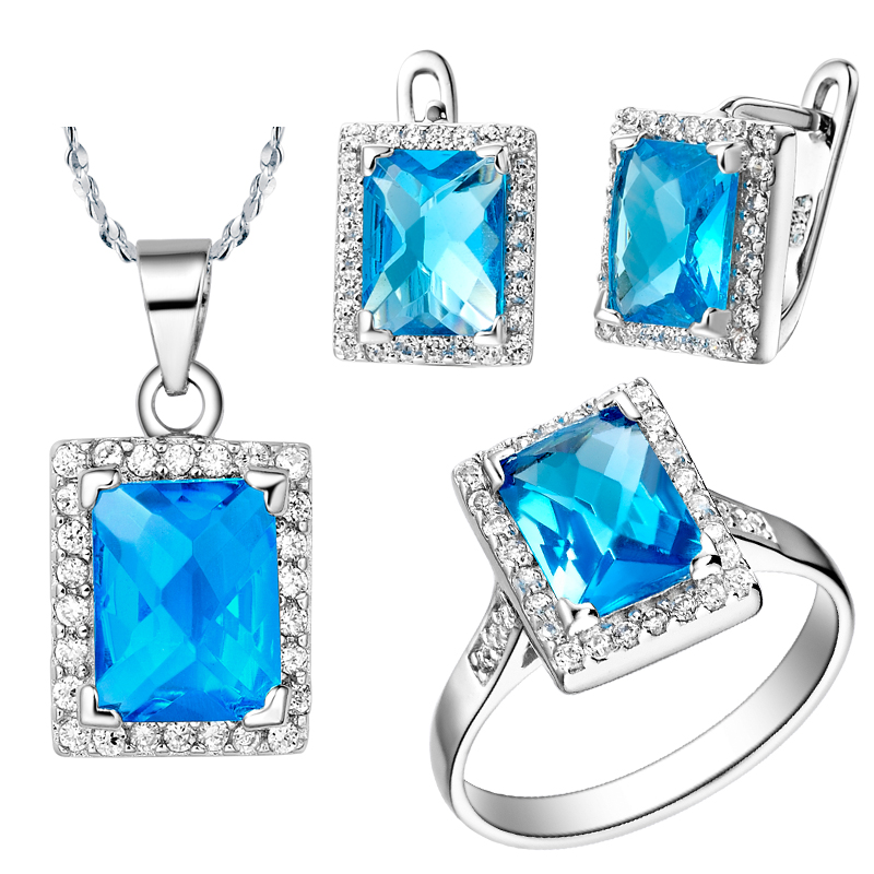 Wedding Bijoux Fine Workmanship accessories Fashion Earrings,necklace,rings New Siler Plating Jewelry Set sea Blue Crystal Set
