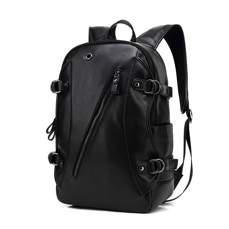 Brand Male Waterproof 12 Inch USB Charge Laptop Backpack Men Leather Backpacks Teenager School Bag Casual Anti-theft Mochila D97