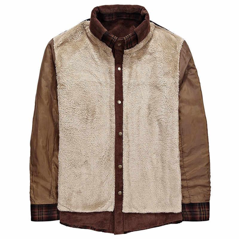 Áo Sơ Mi Hoa Nam Quân Kẻ Sọc Mùa Đông Ấm Lông Cừu Dày Áo Khoác Áo Khoác Dài Tay Cotton Áo Sơ Mi Áo Chemise Homme