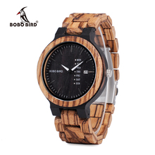 BOBO BIRD O26-2 Men's Wood Dress Analog Watch With Week Display Casual Quartz Watch Ship from Spain In Gift Box