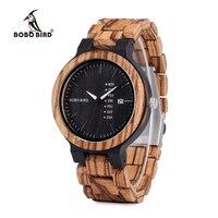 BOBO VOGEL O26-2 mannen Hout Jurk Analoge Horloge Met Week Display Casual Quartz Horloge Schip uit Spanje In Gift doos