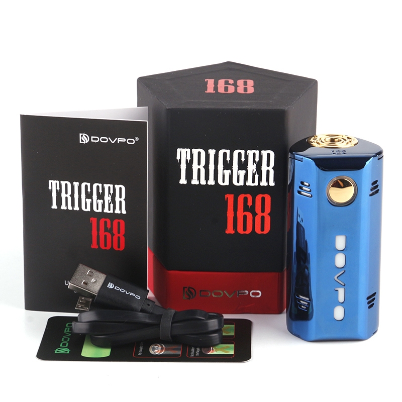 Newest original DOVPO TRIGGER 168w Box Mod TC 18650 E Electronic cigarette vape huge pro 168w mod for RDA RTA RDTA tank Atomizer e cigarette mod aspire pegasus 70w tc box mod 0 86 inch display vaping mod fit rta rdta vape tank without 18650 battery mod