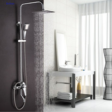 Dofaso Bad Regen dusche sets bad wasserhahn dusche wasserhahn Chrome bad set armaturen Regen Und Wasserfall Duschen Wasser Sparen