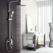 Dofaso Bathroom Rain shower sets bath tap shower faucet Chrome bath set faucets Rain And Waterfall Showers Water Saving