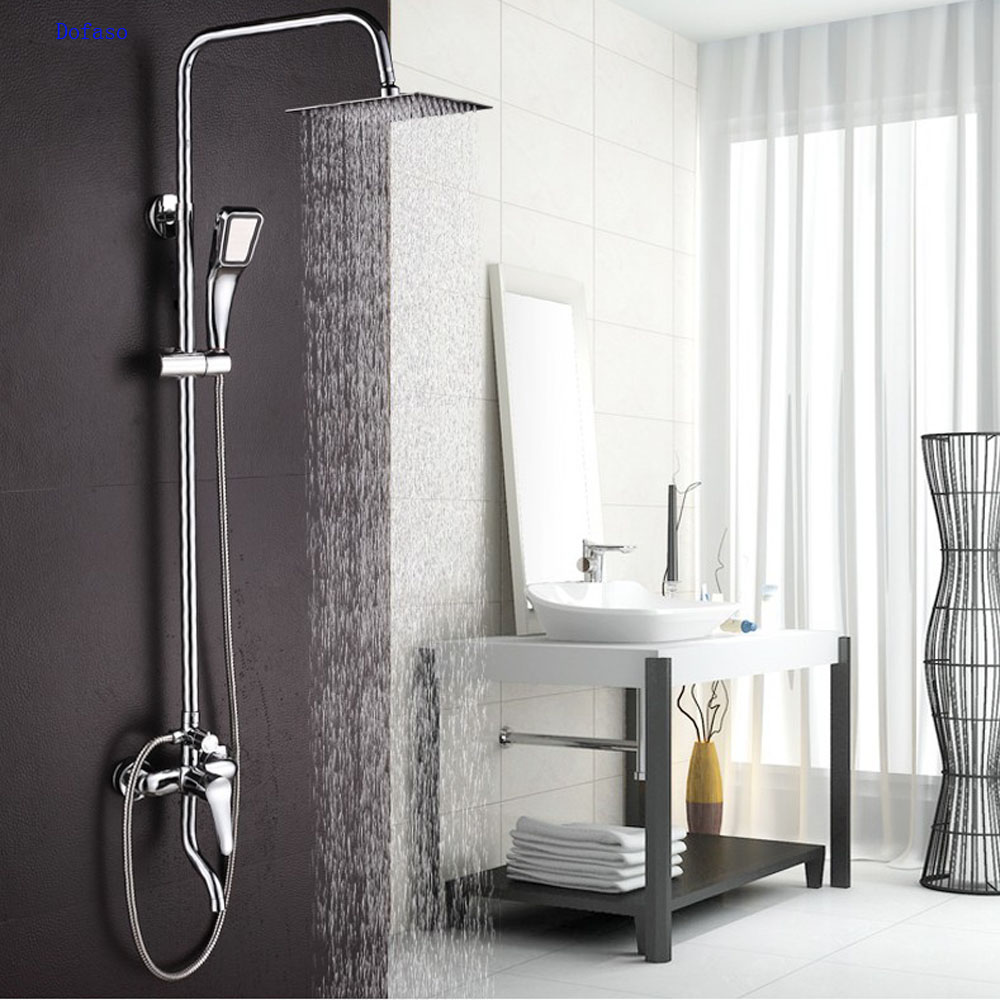 Dofaso copper Bathroom Rain shower sets bath tap shower faucet Chrome bath set faucets Rain And Waterfall Showers Water Saving