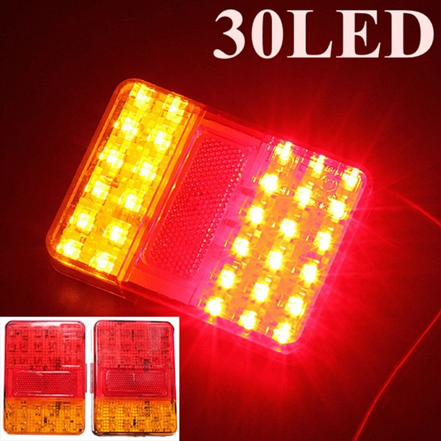 Brand New Auto Peças de Um Par de 12 V 30 LEDs de Luz Traseira Lâmpada Traseira Da Cauda Luzes Do Reboque E Caminhão-Marcado Luzes de advertência