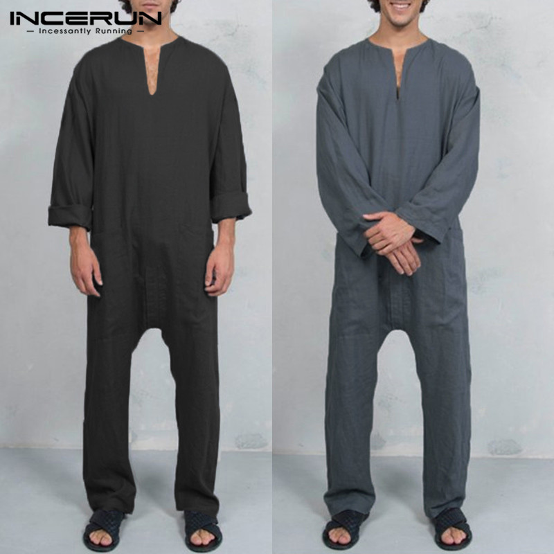 21f75bc06254 INCERUN 2018 New Men Muslim Islamic Clothes Pants Cotton Jumpsuits Casual  Retro Overalls Pockets Solid Baggy Trousers Men Kaftan-in Overalls from  Men s ...