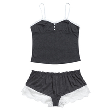 Women's Grey and White Top and Shorts Pajama Set