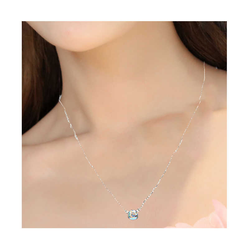 New LNRRABC Trendy Colored Simualted Stone Pendant Necklaces For Women Gold Color Link Chain Necklaces Fashion Jewelry
