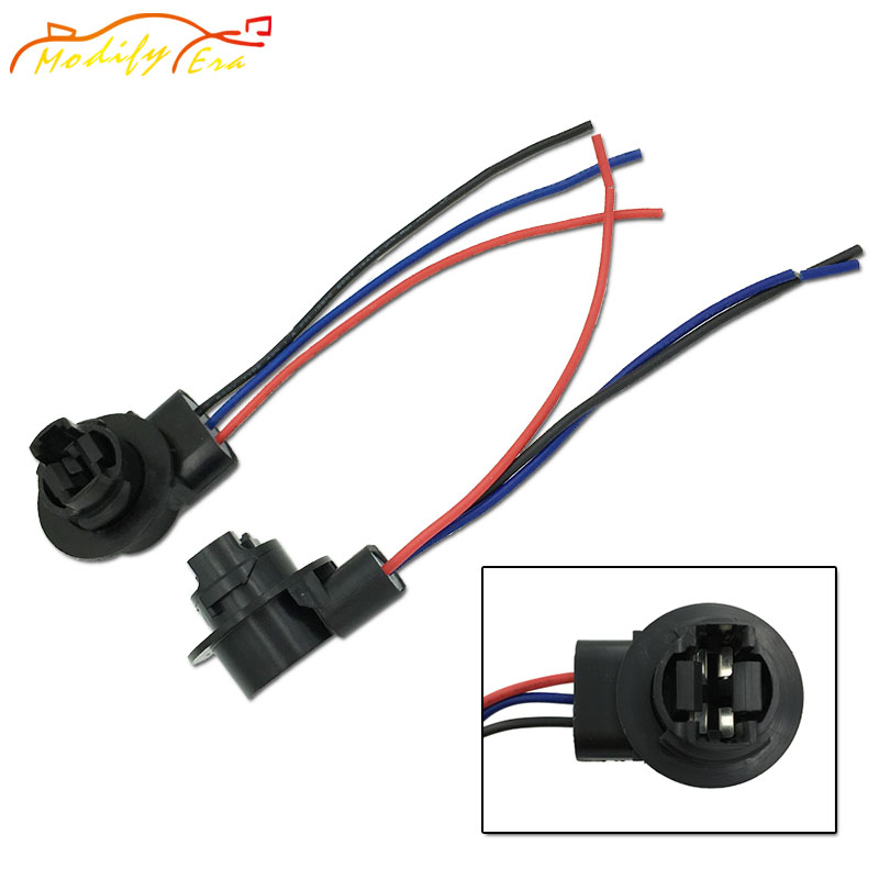 Modify.Era 2pcs 3157 3357 4157 Car Led Bulbs Lamp Socket Adapter Connector Harness Wiring For Car Brake Turn Signal Backup Light
