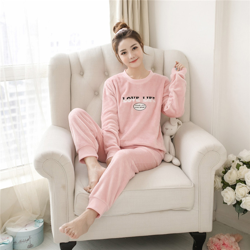 Women pajamas set Women Pyjamas Thick Flannel Cute Sheep Female Warm Winter Pajama Set Long Sleeve Full Trousers Two Piece 2019 54