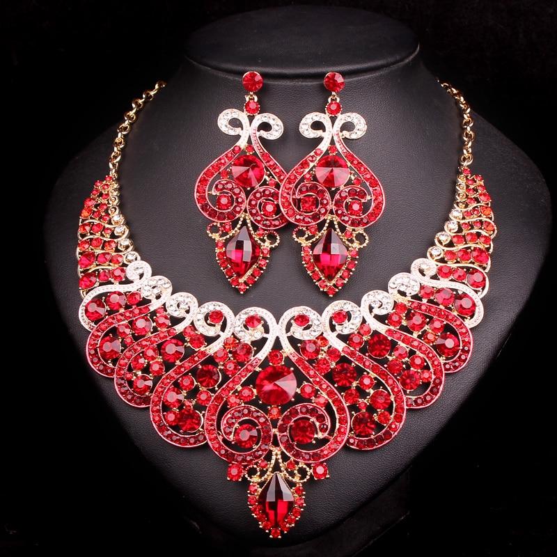 Luxus Brautschmuck Sets Hochzeit Verlobung Halskette Ohrring Set - Modeschmuck - Foto 3