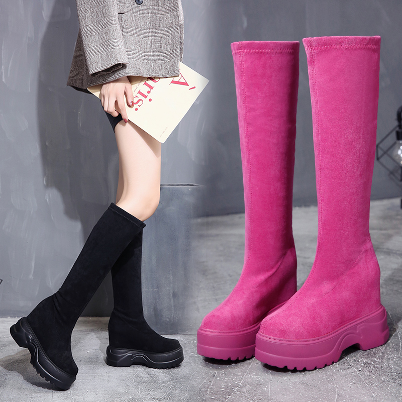 2018 New Hot Women Boots Autumn Winter Ladies Fashion Flat Bottom Boots Shoes Over The Knee Thigh High Suede Long Boots contrast lace applique t shirt