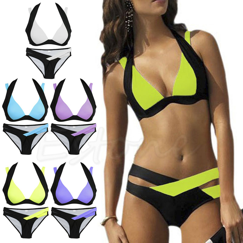 Sexy Women Bikini Set Swimwear Bandage Monokini Push Up Padded Swimsuit Bathing Beachwear
