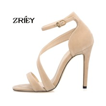 Newest Women Sandals Open Toe Ankle Straps High Heels Chaussure Femme Stilettos Suede Wedding Pumps Sapato Feminio Sandalias
