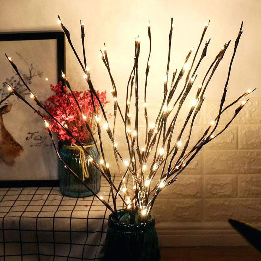 LED Willow Branch Lamp Lights 20 LEDs Branches String Light GarlandBattery Powered For Home Party Cafe Shop Decor Lights