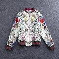 Chaqueta de moda Chaqueta de Las Mujeres 2016 Completo Nuevo Runway mujer Marca Retro Impresión de la Flor de la Cremallera Casual Chaqueta para Mujer Al Por Mayor