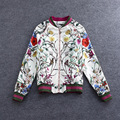 Fashion Women Jacket 2016 Full New Runway Jacket Women's Brand Retro Printing Flower Zipper Casual Jacket for Womens Wholesale