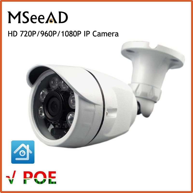 720P 1MP PoE IP Camera 1080P 2.0MP Waterproof Outdoor Bullet IP Camera ONVIF Metal Case With Mount IP66 48V PoE Camera outdoor waterproof white metal case 1080p bullet poe ip camera with ir led for day