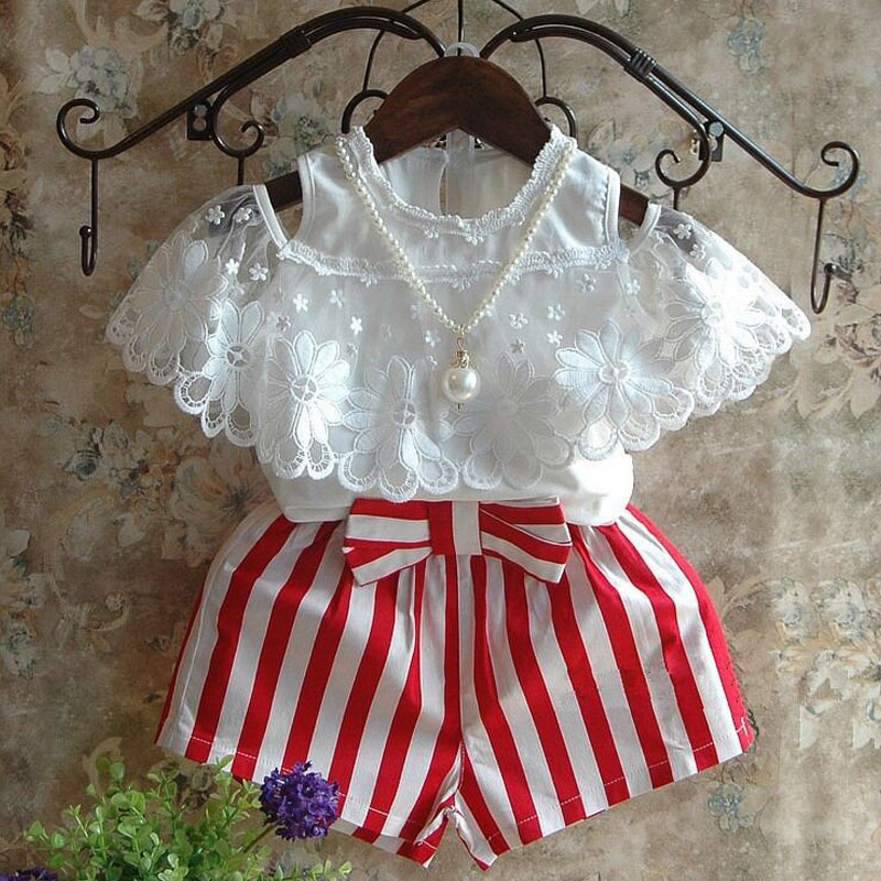Brand 2017 New Kids Clothes Summer Style Girls Clothing Sets Lace T-shirt+Red And White Striped Bow Shorts Girls Clothes new baby girls t shirt brand round neck kids clothes tshirt printed cute red rabbit pattern next clothing style for 18m 6t