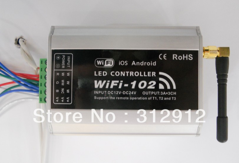 WIFI-102;LED wifi controller,controller single color,2colors,RGB led strip,max 3A*3 channel output,Androis and IOS supported dmx512 digital display 24ch dmx address controller dc5v 24v each ch max 3a 8 groups rgb controller