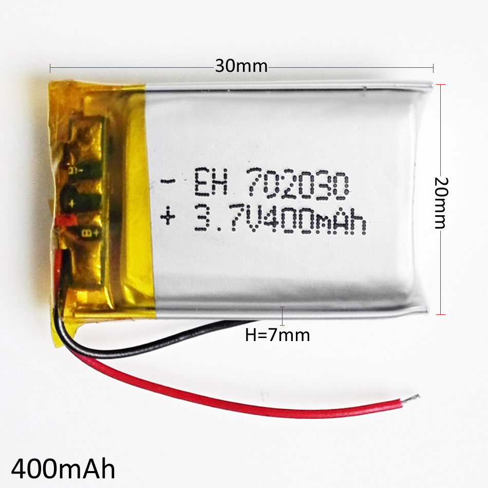 3.7V 400mAh 702030 Lithium Polymer Li-Po Rechargeable Battery For DIY Mp3 MP4 MP5 GPS PSP bluetooth electronic part Video games