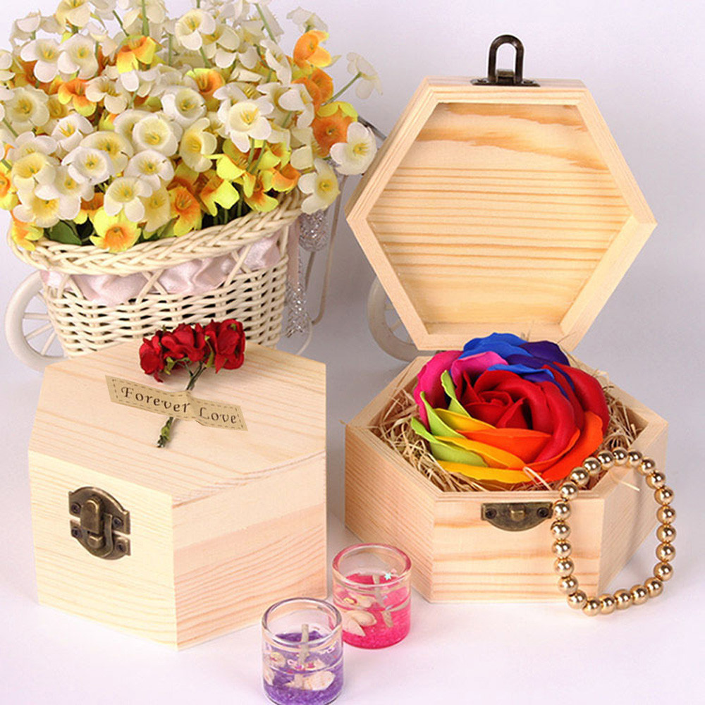 Colorful Rose Soap Wooden Box Heart Scented Bath Body Petal Rose Flower Soap Wedding Decoration Best Gift For Lovers #10