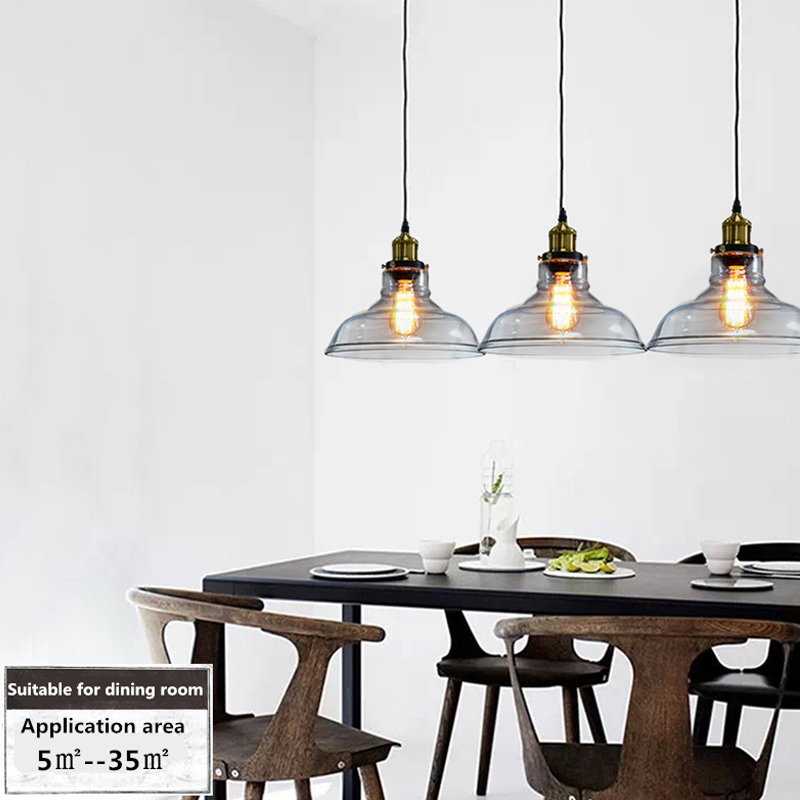 Loft RH Vintage lampes suspendues en verre lampes suspendues industrielles en métal rétro Lustres luminaires suspendus luminaire suspendu E27