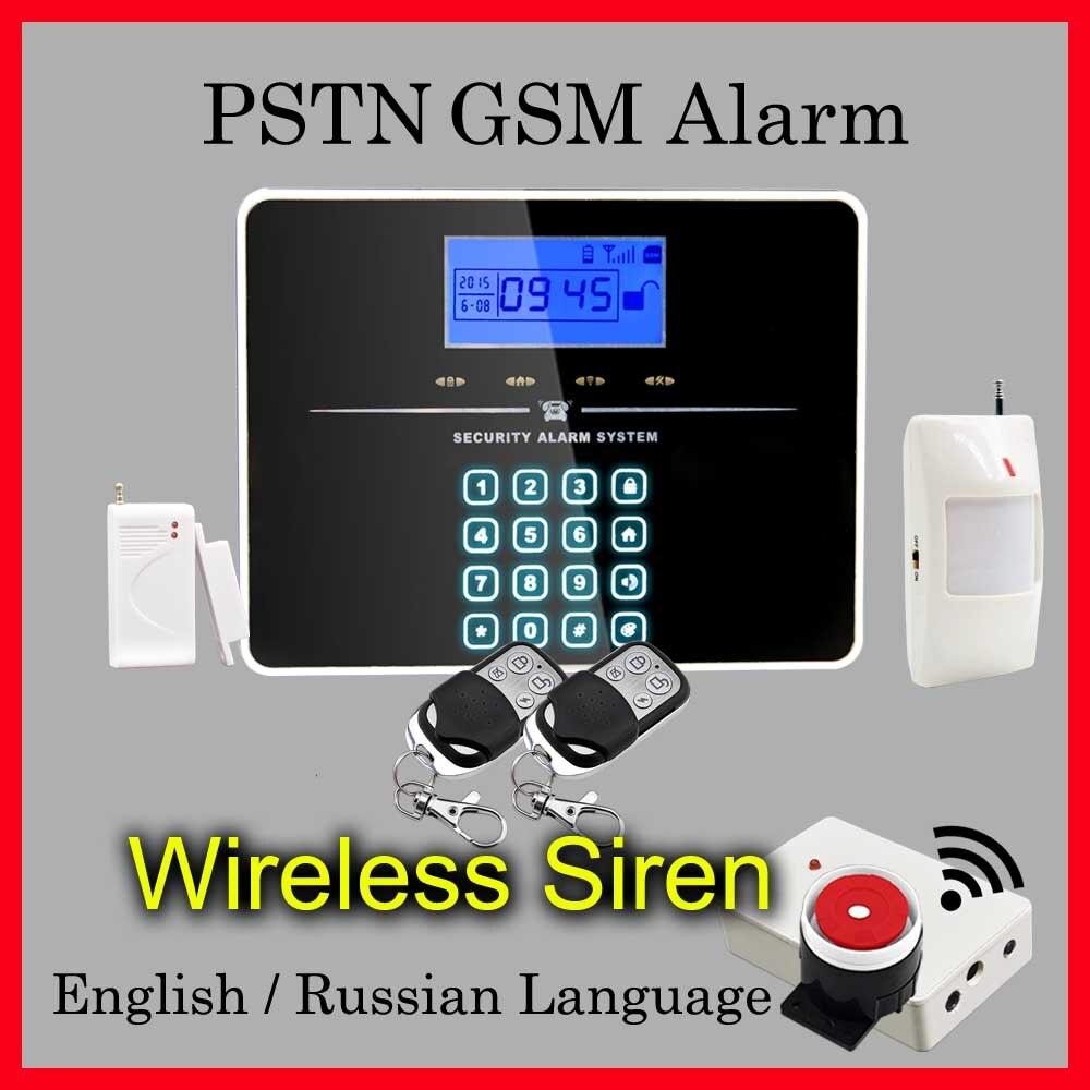 ФОТО DHL Free Shipping! English Russian Voice Wireless PSTN GSM Alarm System  Wireless Siren, Touch Keypad 433MHz Sensor Alarm