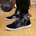 Winter Men's Hip Hop Shoes Buckle Punk Flat Shoes High Top Warm Plush Star Pattern Zipper Designers Men's Casual Shoes L101902