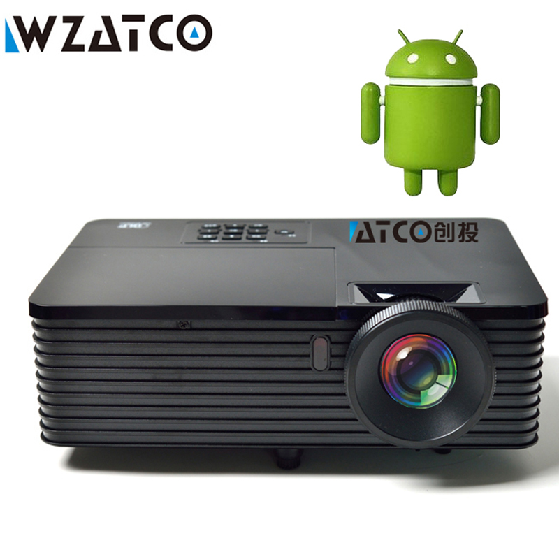 WZATCO 6000lumens HDMI USB Quad Core Android 7.1 WiFi Smart Church Data Show 1080P 3D Projector Daylight HD Beamer Proyector цена