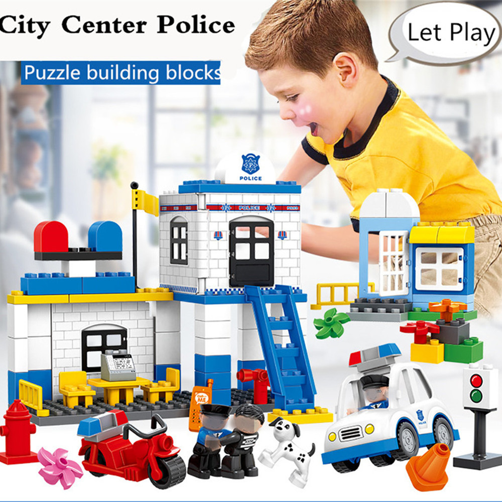 Tumama 115/95pcs City Police Station Building Blocks Big Size Play Blicks Compatible with Legoed Early Learning Toys Baby Gifts