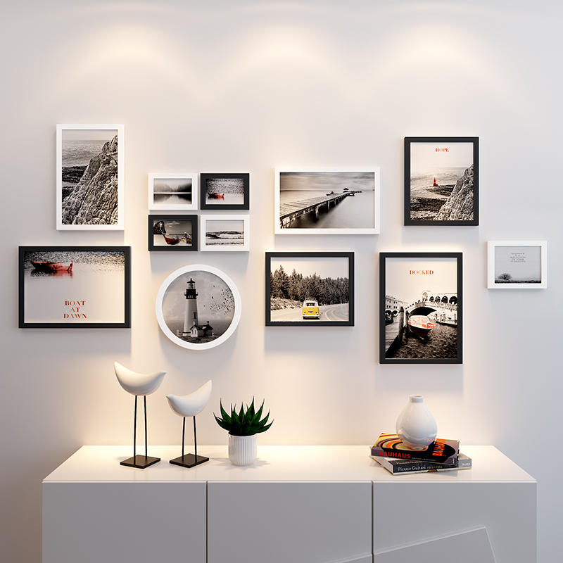 Marcos de madera para fotos Marco de pared colgante marcos de fotos para pared de Fotos 12 piezas negro blanco redondo rectángulo-in Montura from Hogar y Mascotas on AliExpress - 11.11_Double 11_Singles' Day 1