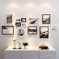 Wooden Frames for Pictures Hanging Wall Frame Photo Set Photo Frames for Picture Wall 12 pieces Black White Round Rectangle