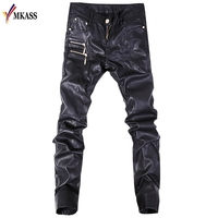 New Autumn Biker Skinny Men Gothic Punk Fashion Faux Leather Pants PU Buckles Hip Hop Zippers