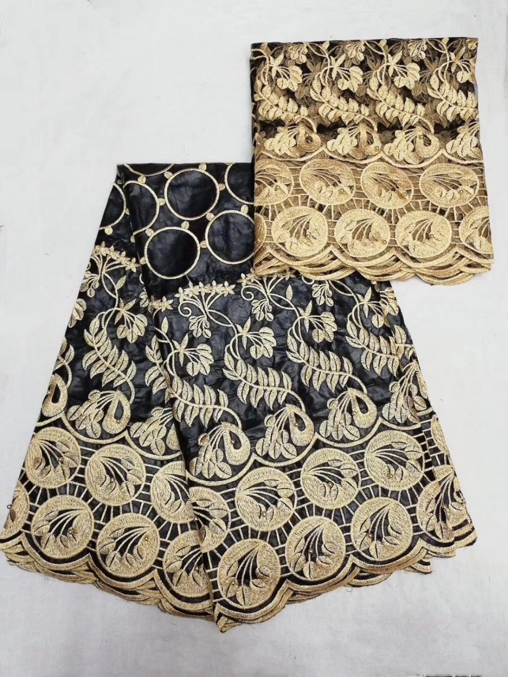 TS009 (5+2yards/set) elegant  African bazin lace fabric with delicate black and gold embroidery for party dress