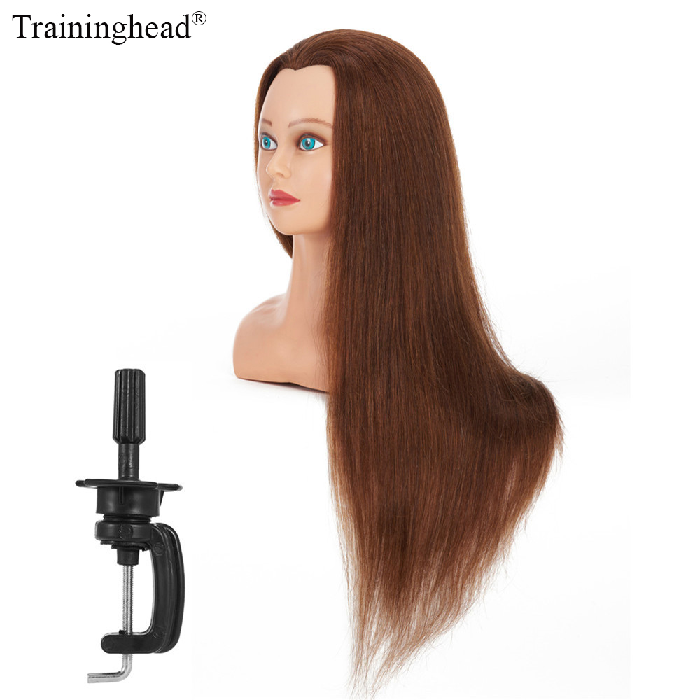 Traininghead 28-30 100 Human Hair Mannequin Head Bust With Hair For Wigs Makeup Practice Training Dummy Doll Head Manikin Head mannequin head african american afro hair with manikin for practice styling braiding
