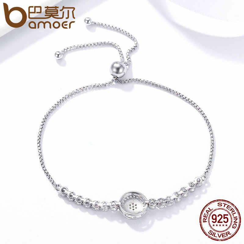 Bamoer authentic 925 prata esterlina azul olho tênis pulseira para mulher ajustável corrente pulseira prata esterlina jóias scb033