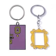rongji jewelry TV Show Friends Monicas Double Door Frame Keychains Boyfriend Girlfriend Best Friend Gift