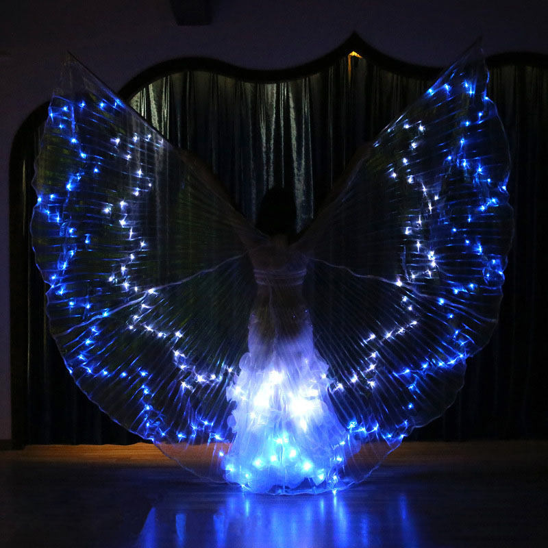 Women 12 Point Star Color Light Belly Dance Isis Angel Wings LED Fairy Butterfly Costume Oriental Bellydance Dancing Accessories