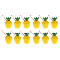 12xPlastic Hawaiian Tropic Pineapple Drinking Cup &Straw Luau Beach Party Decor