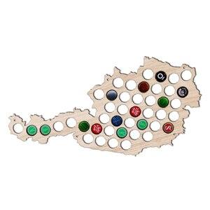 Mapas de tapas de cerveza de madera, tapas de botellas de cerveza, tablero decorativo del mapa de Austria para colector de tapas, bebedero de cerveza, artesanías de madera con mapa austriaco