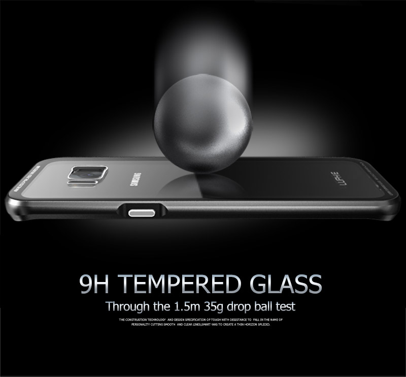 LUPHIE Transparent Cases For Samsung Galaxy S9 S8 Plus Note 8 Metal Bumper Glass Cover (8)