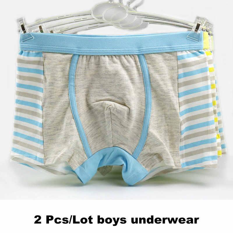 Нижнее белье для мальчиков-подростков мягкие удобные детские трусы-боксеры в полоску для мальчиков, Красочные трусы для маленьких мальчиков детские шорты из хлопка, 2 шт./партия