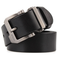 Mens Cowskin Buckle Real Leather Belt Large Size Business Sliding Buckle Ratchet Strap Trousers Pants Waistband